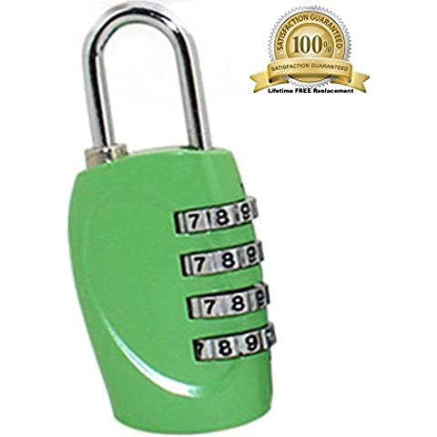 The Ultimate 4 Digit Combination Lock Padlock Set for School GYM & Sports Locker Cabinet Drawer Toolbox Suitcase Luggage - Not TSA Approved Lock (Green) ¡