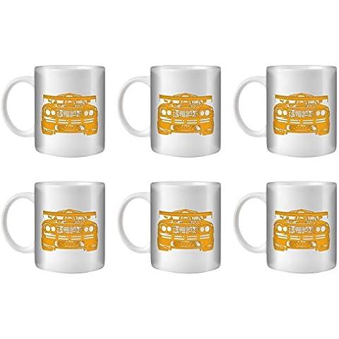 STUFF4 Taza de Café/Té 350ml/6 Pack Naranja/F1 GTR/Cerámica Blanca/ST10