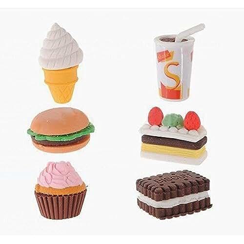 material para la escuela kawaii Well-Goal - Gomas de Borrar para Lápiz - Con Forma de Comida Helado, Pastel, Divertido, para Niños