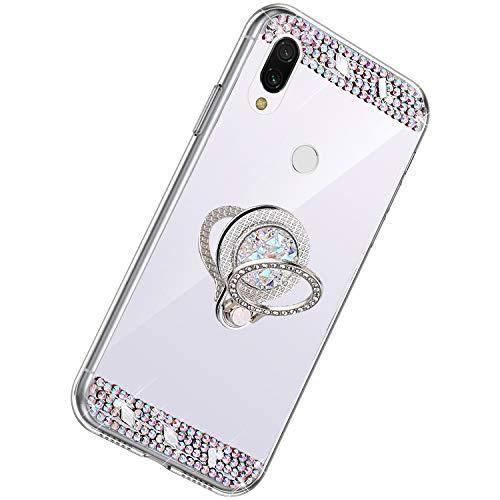Herbests Kompatibel mit Xiaomi Redmi 7 Hülle Glitzer Kristall Strass Diamant Silikon Handyhülle mit Ring Halter Ständer Schutzhülle Überzug Spiegel Clear View Handytasche,Silber