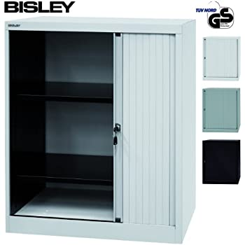 bisley rolladenschrank mit schloss schrank aus metall rolladen aus kunststoff abschlie bar. Black Bedroom Furniture Sets. Home Design Ideas