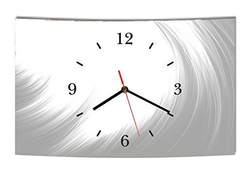 LAUTLOSE Designer Wanduhr Abstrakt grau weiß modern Dekoschild Abstrakt Bild 38 x 25cm