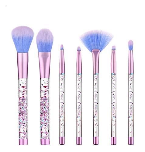 Panlom® Lot de brosse de maquillage 7 pcs antidérapant Cristal Poignée de paillettes Pinceaux de maquillage pour fond de teint sourcils Eyeliner Blush cosmétiques Concealer