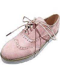 b2c6a126e05 Derbies Femme Chaussure de Ville à Lacets Brogues Suède Plate Oxford Été  Casual Basses Baskets Travail