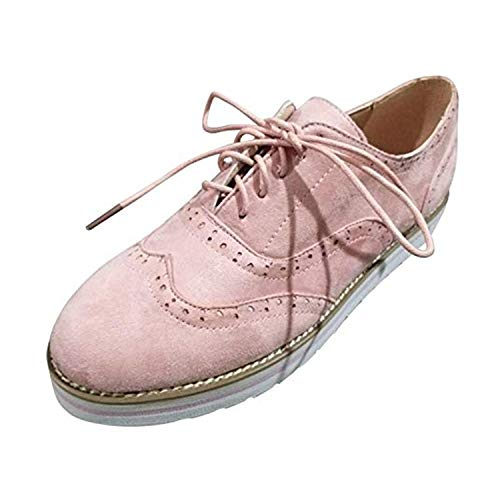 Brogues Damen Schuhe Leder Flach Derby Vintage Oxfords Wingtip Schnürhalbschuhe Bequem Business College Casual Sneaker Rosa 37 (Schuhe Wingtip Rosa)