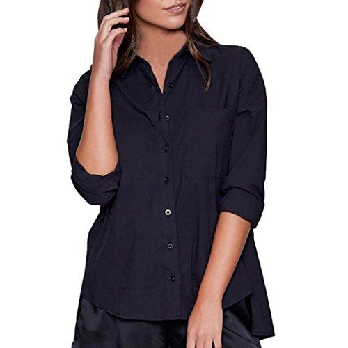 Damen Modisch Langarmshirt Casual Einfarbig T-Shirt Bluse Reizvolle Revers Schlank V-Ausschnitt Hemd mit Druckknopf Hemdbluse Rückenfrei Hemd Streetwear Top Sweatshirt Pullover (Schwarz, XL) (- Knopf-manschette Pullover)