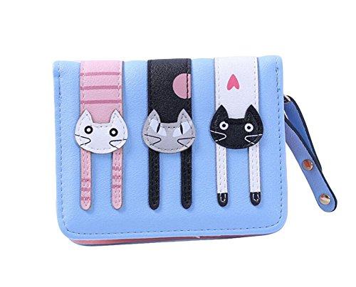 Ylen Kurz Damen Leder Portemonnaie Kleine Geldbörse Karikatur Katzen Münzen Kasten mit Reißverschluss Kartenhalter