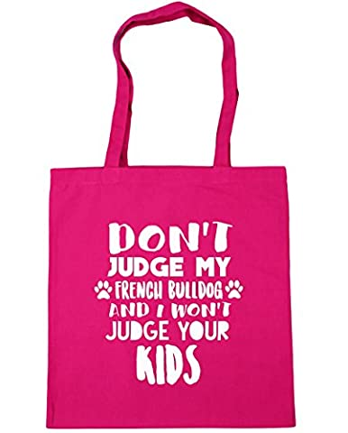 HippoWarehouse Don't judge my french bulldog and I won't judge your kids Tote Shopping Gym Beach Bag 42cm x38cm, 10