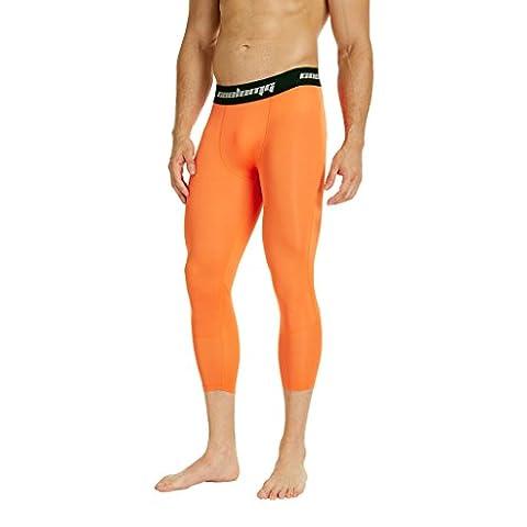 COOLOMG Kompression Hose Laufhose Länge Hosen und 3/4 Tights Capri Kalb-lange Hosen- Funktionswäsche Base Layer für Herren Orange (Compression Capri Tights)