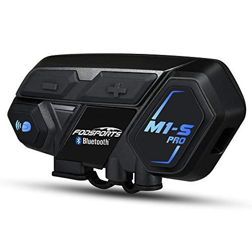 Fodsports Motorrad Gegensprechanlage Headset Wasserdicht Motorrad Helm Intercom M1-S Bluetooth 4.1 Interphone 8 Riders Gruppe Systeme mit 2000 m, GPS, HiFi Musik (1 Hard Kabel & 1 Weiches Kabel)