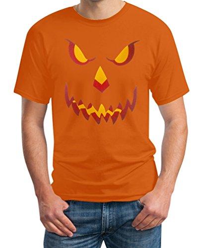 Halloween Kürbis Kopf Smile Gruselig Cooles Motiv Outfit Pumpkin Head T-Shirt Large Orange (Kürbis-kopf T-shirt)