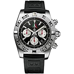 Breitling Chronomat 44 P.A.N. Frecce Tricolori AB01104D/BC62/153S Men's Quartz Watch with Black Dial Chronograph Display and Black Rubber Strap AB01104DBC62153S