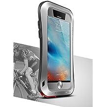 Funda de aluminio metal carcasa de silicona para Apple iPhone 6S, Love Mei marca [Curve Estilo] Funda impermeable, con pantalla Gorilla Glass * two-years garantía *