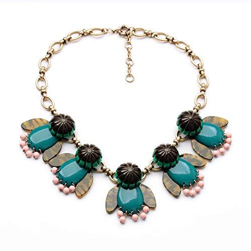 Grünen Kostüm Schmuck Halsketten (XMDNYE Kostüm Kristall Trendy Schmuck Zubehör Freundliche Mode Kette Grün Urquoise Halskette)