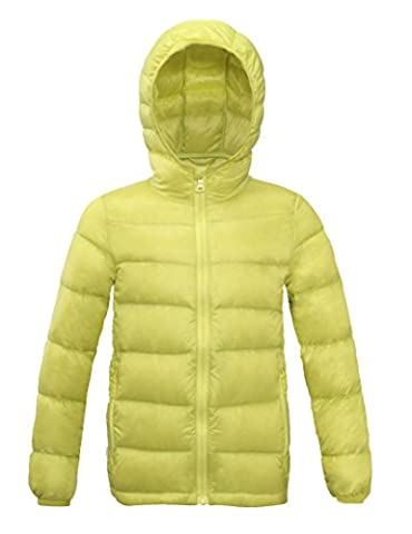 CHERRY CHICK Kid's Packable Down Hoodie (52 Inches, Lemon)