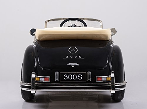 RC Auto kaufen Kinderauto Bild 3: Mercedes Benz 300s Oldtimer Lizenz Kinderfahrzeug mit 2x 35W Motor Kinderauto Elektroauto Fernbedienung MP3 Anschluss in Schwarz*