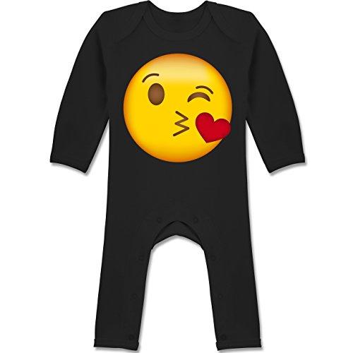 Anlässe Baby - Emoji Kuss-Mund - 3-6 Monate - Schwarz - BZ13 - Langarm Baby-Strampler / Schlafanzug für Jungen und (5 Ideen Von Kostüm Gruppen)