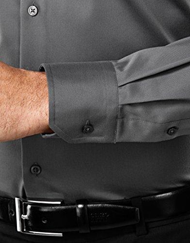 Vincenzo Boretti Herren-Hemd Bügelfrei 100% Baumwolle Slim-Fit Tailliert Uni-Farben - Männer Lang-Arm Hemden für Anzug mit Krawatte Business Hochzeit Freizeit dunkelgrau/weinrot
