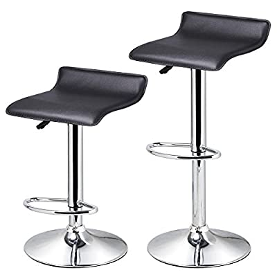 Popamazing Set of 2 Black Leather Breakfast Bar Stools with Low Backs No Armrest Home Bar Kitchen Gas Lift Swivel Bar Stools