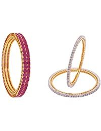 Ratnavali Jewels Trendy CZ Studded Gold Plated Traditional COMBO Of Ruby & White Bangles Set For Women ( PACK...