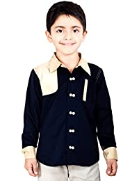 Naughty Ninos Black Solid Double Button Full Sleeve Dress Shirt