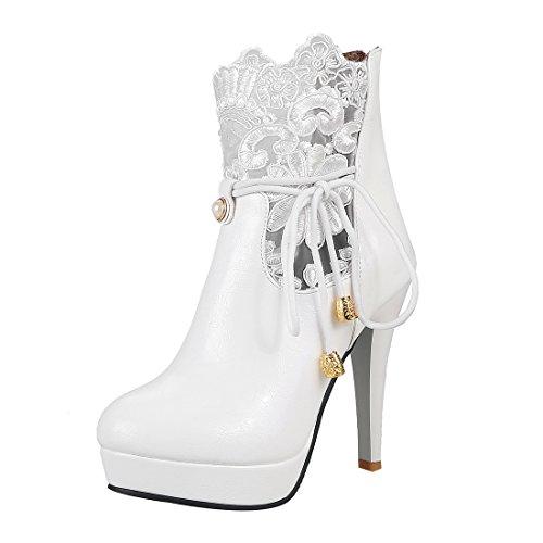 gh Heels Stiefeletten Plateau Ankle Boots mit Spitze und Reißverschluss Hochzeit Braut Schuhe (Klassische Halloween-kostüme 2017)