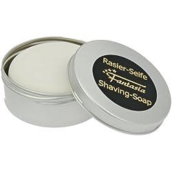 Fantasia 85103 - Jabón de afeitar en bote metálico redondo con aroma a sándalo (ø 7,5 cm, 100 g), color plateado