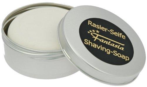 Fantasia Rasierseife Sandelholz 100g, Premium Sandelholzseife für Herren Rasur, Set mit Metall Dose -