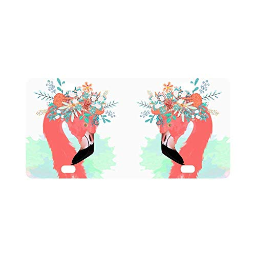 Ganheuze Fashion Pink Flamingo with Flowers License Plate Cover Novelty Auto Car Tag Vanity Gift 4 (12 X 6 inches)