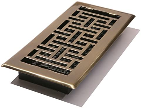Decor Grates AJH410-A Oriental Floor Register, Antique Brass, 4-Inch by 10-Inch by Decor Grates