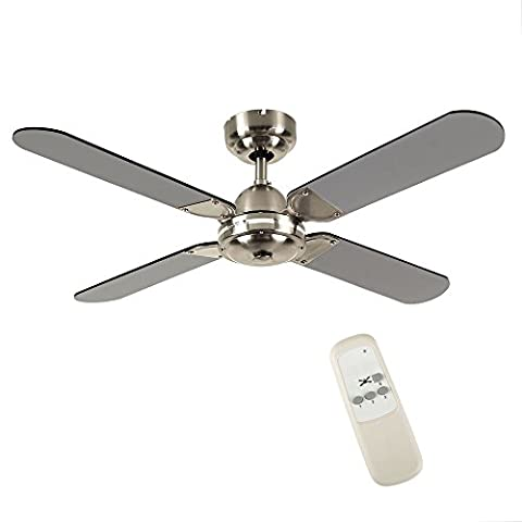 Large Modern Remote Control Chrome & Black 4 Blade Ceiling Fan - Without Light.