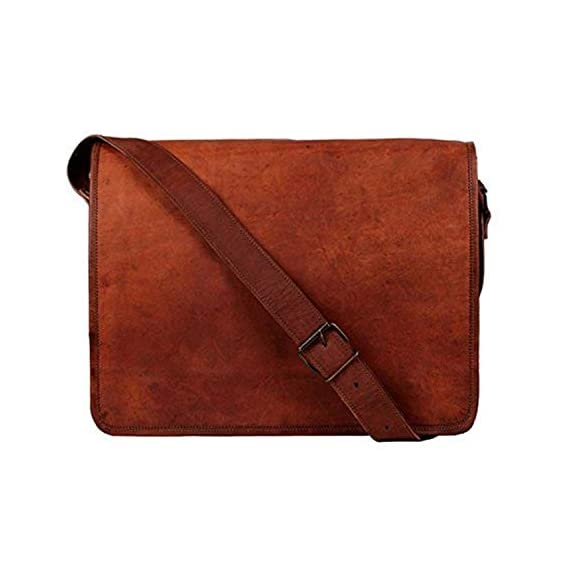 ALCRAFT Vintage Cross-Body Genuine Leather Laptop Messenger Bag (13