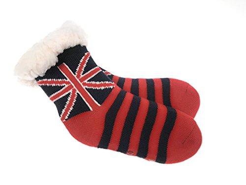 Laake Hütten Socken für Jungen und Mädchen Kinder Home Socks mit Teddyfutter Kuschelsocken Lammfellimitat und ABS-Stopper-Sohle (JM-5519 28-31-1) -