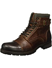 JACK & JONES Herren Jfwalbany Leather Boot Brown Stone Combat
