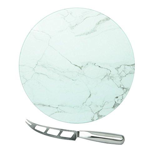 TABLE PASSION - PLATEAU A FROMAGE ROND DECOR MARBRE 35 CM AVEC COUTEAU