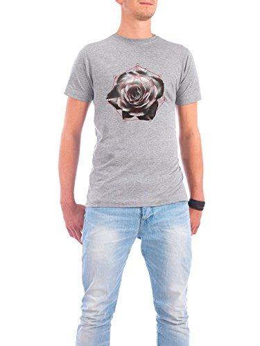 "Design T-Shirt Männer Continental Cotton ""Sacred Rose"" - stylisches Shirt Floral Geometrie Natur von Dr. Söd Grau"