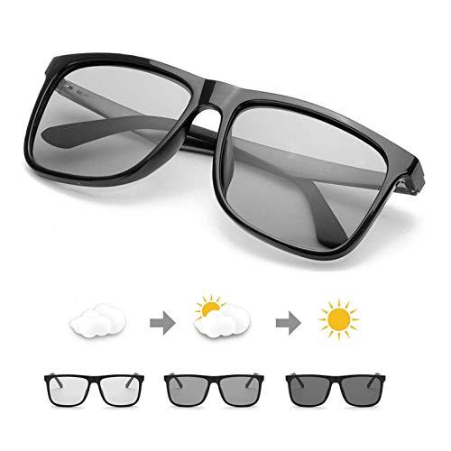 TJUTR Photochromatisch Sonnenbrille Herren für Autofahren, Polarisiert Linsen Klassische Brille - 100% UV400 Schutz (Helles Schwarz/Grau Photochromatisch-1)