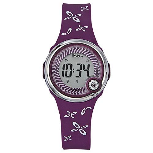 Tekday 653051 - Reloj digital de cuarzo infantil con correa de plástico, color morado