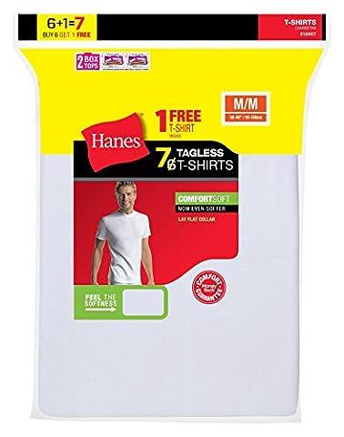 Hanes Men's Tagless Crewneck Undershirt 7-Pack (Includes 1 Free Bonus Crewneck), White, L