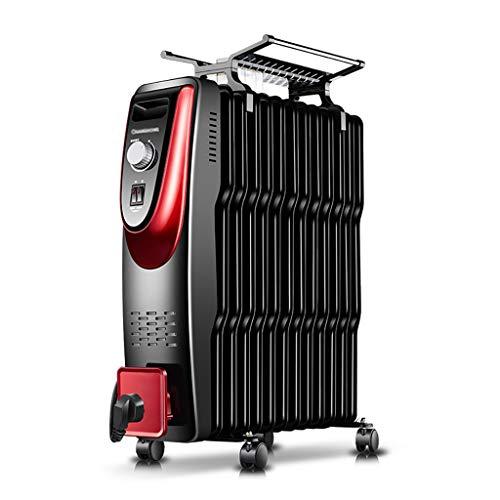 heater Riscaldatore Elettrico per radiatore ad Olio, riscaldatore Elettrico Portatile - 3 impostazioni di Alimentazione e Temperatura Regolabile e Interruttore di Sicurezza Ribaltabile - Nero 2000W