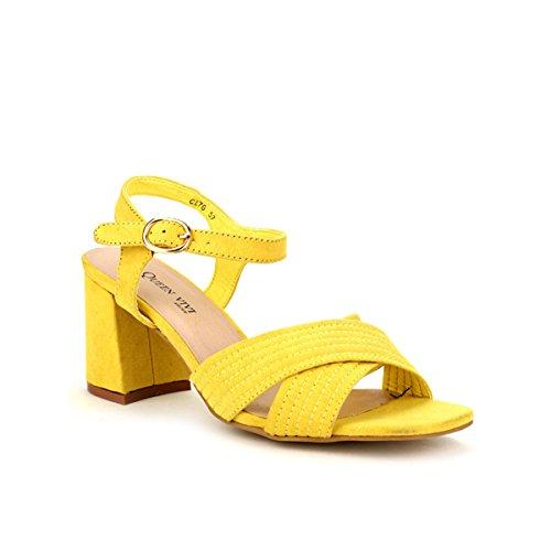 Cendriyon Sandale Color Jaune Vivi Rich Chaussures Femme Jaune