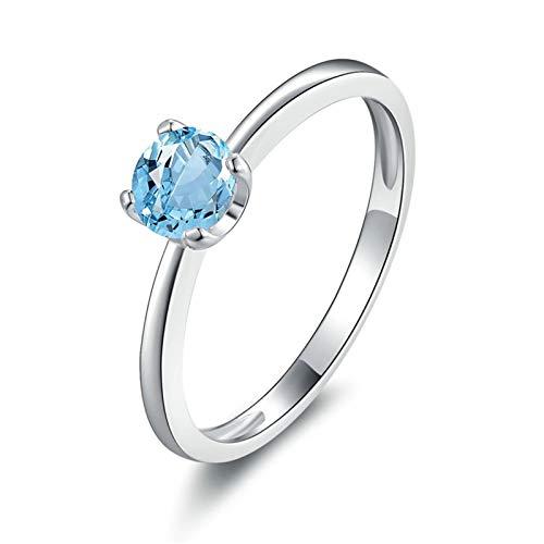 Daesar Silber 925 Ringe Damen Brilliant Blau Topaz Ehering Partner Ring Silber Größe 63 (20.1)