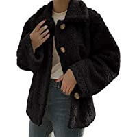 TUDUZ Damen Mantel Revers Faux Für Lose Langarm Outwear mit Tasche Winterjacke Kurz Winterjacke