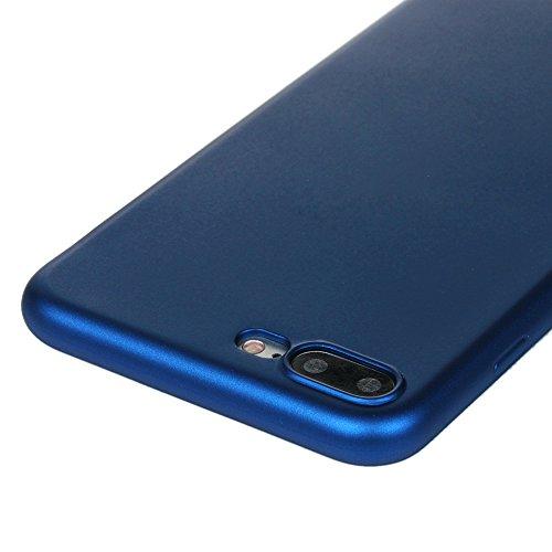 Lanveni 2×TPU Silikon Schutzhülle für iPhone 7 Plus Hülle Volltonfarbe Rückschale und TPU-Bumper Weiche Silikon Case Cover (Schwarz + Rosé-gold) Blau + Silber