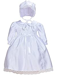 Cinda Bebé blanco satinado manga larga vestido de bautizo con capó