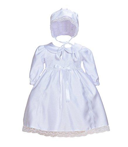 Cinda Weißes Baby-Satin-Langarm-Taufkleid mit Mütze Weiß 56-62