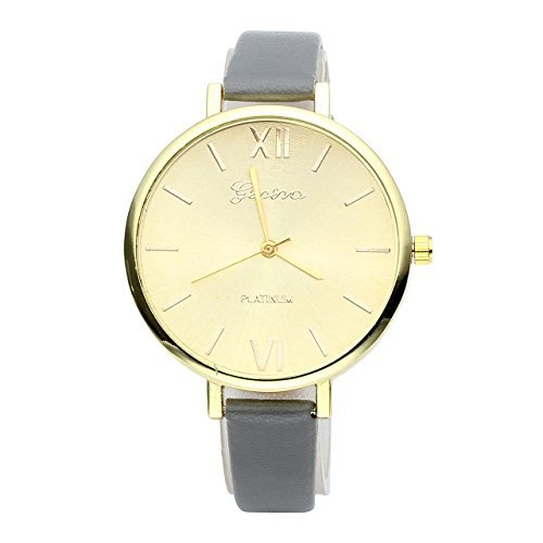 JSDDE Uhren,Genf Elegante Damen-Armbanduhr XS Slim PU Lederarmband Ladies Dress Analog Quarzuhr Minimalismus Damenuhr,Grau