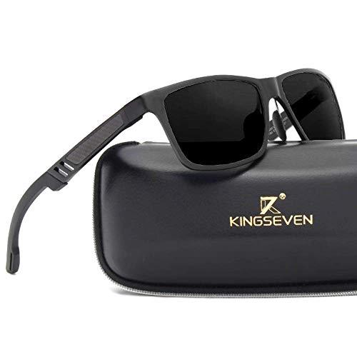 Kingseven Carbon Sonnenbrille Rechteckig Schwarz UV400 Polarisiert HD Vision Outdoor Sommer Sport Trekking Auto (Schwarz, Schwarz)
