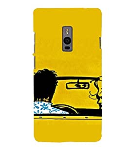 PrintVisa Silhouette Couple Drive Design 3D Hard Polycarbonate Designer Back Case Cover for One Plus Two