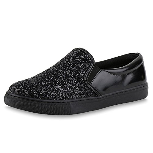 Slip-Ons Damen Glitzer Slipper Metallic Sneakers Freizeit Flats Schwarz Glitzer